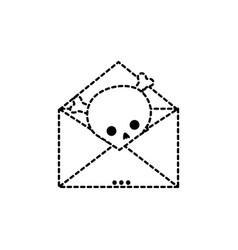 dotted shape e-mail letter message with danger vector image
