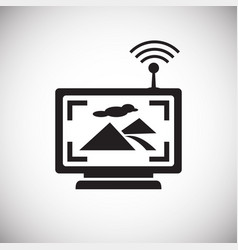 Drone live tracking monitor icon on white vector