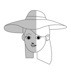face of pretty young woman wearing sun hat ico vector image