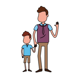 Father with his son together and holding hands vector