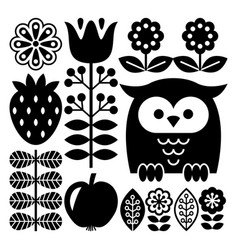 finnish inspired folk art pattern in black vector image
