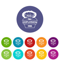 Fire explosion icons set color vector