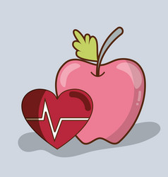Flat line delicious apple fruit with healthy heart vector