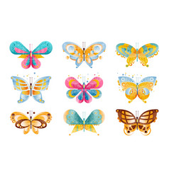 flat set brightly colored butterflies vector image
