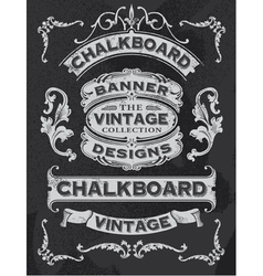 floral decorative banner and ribbon chalkboard set vector image