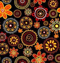 Floral doodle seamless on black background vector image