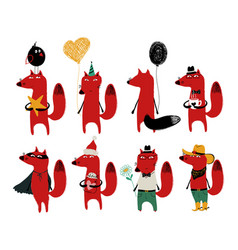 funny set of cute fox vector image