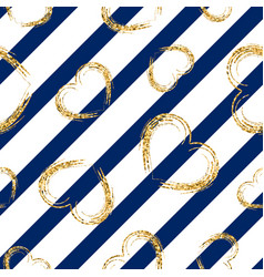 gold heart seamless pattern white-blue geometric vector image