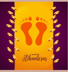 Golden coins and god foot prints dhanteras vector