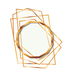 Golden frame dodecagon isolated icon vector