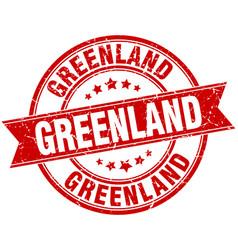 Greenland red round grunge vintage ribbon stamp vector