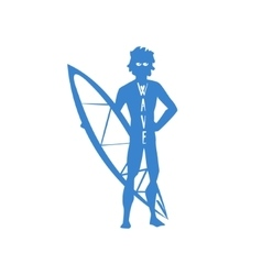 Guy Standing With Surfboard Print vector