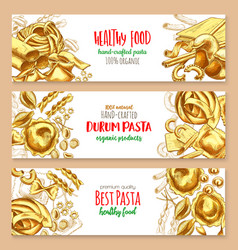 hand-crafted pasta italian cuisine banners vector image