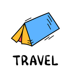 hand draw doodle simple tent travel camp icon vector image