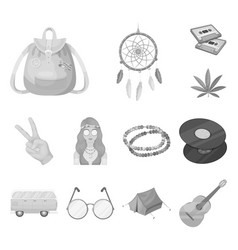 Happy and attribute monochrome icons in set vector