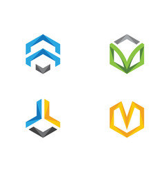 hexagon logo icon vector image