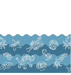 Horizontal repeating pattern with seafood products vector