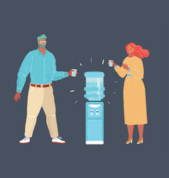illustration man and woman drink water standing vector image