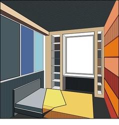 Interior of bedroom vector
