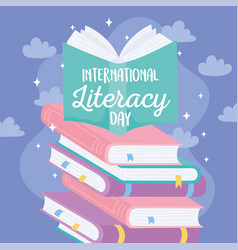 international literacy day textbook on stack vector image