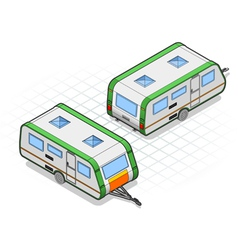 Isometric roulotte in two different positions vector