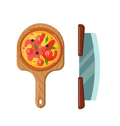 Italian cook pizza icon vector
