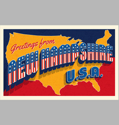 July 4th new hampshire usa retro travel postcard vector
