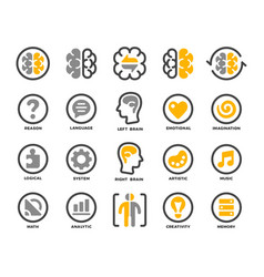 left and right brain icon set vector image