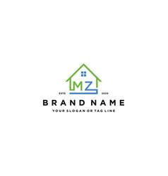 Letter mz home logo design vector