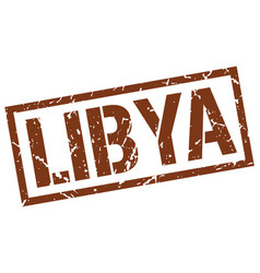 Libya brown square stamp vector