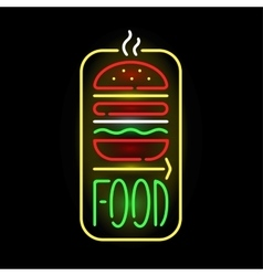 Light neon food label vector
