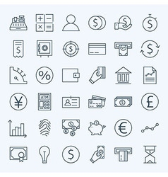 Line Finance Money and Banking Icons Set vector image
