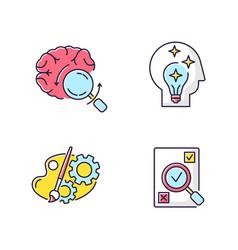Logical mind rgb color icons set vector
