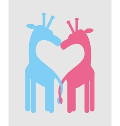 Love heart giraffe couple vector image