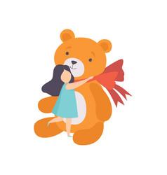Lovely girl hugging her big teddy bear kid vector