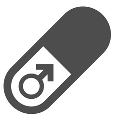 Male power pill flat icon vector