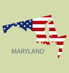 Maryland state of america with map flag print vector