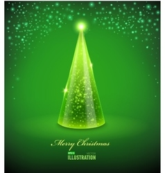 Merry Christmas Card with Glass Christmas tree vector image