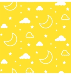 Moon and clouds yellow seamless pattern vector