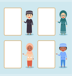Muslim kids standing beside empty board set vector