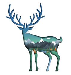 nature landscape inside deer silhouette vector image