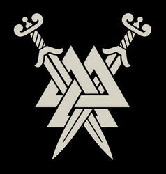 Old norse viking design two crossed battle vector