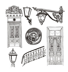 old style doors and building elements isolated on vector image