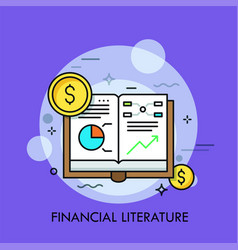 opened book with graphs diagrams and dollar coins vector image