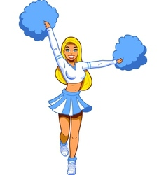 Pretty cheerleader with pom poms vector