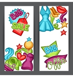 Sale banners with female clothing and accessories vector