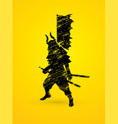 Samurai warrior standing ready to fight with flag vector