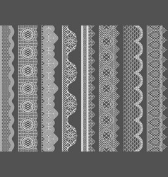 Seamless lace ribbon borders vector