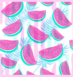 seamless watermelon pattern isolated on hand drawn vector image