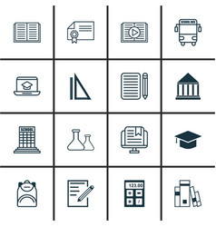 Set 16 school icons includes taped book vector